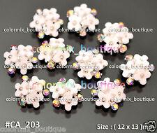 10pcs Alloy Nail Art Tips Decorations Gorgeous White Flower AB Rhinestones#CA203