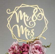 Mr and Mrs Geometric Wedding Cake Topper Personalised Date Mr&Mr, Mrs & Mrs G3