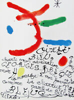MIRO  - HOMAGE TO BRAQUE - ORIGINAL LITHOGRAPH - 1964 -FREE SHIP IN THE US !!!