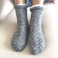 Hommes Épais Tricoté Chaussettes Thermiques Polaire Doublé Hiver Home Chaussons