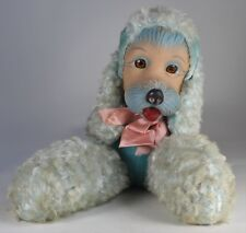 "Rare, LARGE (18"") Rubber-Faced Blue Poodle Plush (likely RUSHTON) Jingling Ears"