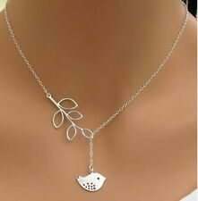 Womens Fashion Silver Colour Bird and Branch Pendant necklace