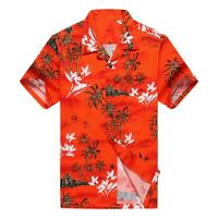 NWT Men Aloha Shirt Cruise Luau Hawaiian Party Orange Red Surf