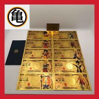 LOT 10 BILLET 10000 YENS FIGURINE DRAGON BALL Z DBZ CARTE GOLD OR SUPER CARDDASS