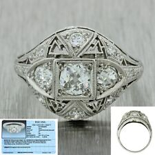 1920s Antique Art Deco Platinum Filigree 0.63ctw Diamond Engagement Ring EGL