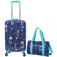 2 Piece Kids Roller Luggage Travel Set Mermaid