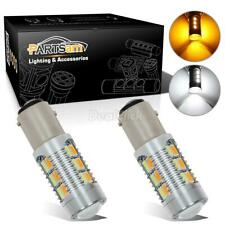 2x 1157 Dual Color Switchback 6000K White/Amber 5730 LED Turn Signal Light Bulbs