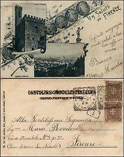 Un saluto da Firenze, 2 immagini, palazzo pretorio e panorama, viaggiata 1901