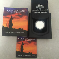 2013 $1 KANGAROO AT SUNSET SILVER PROOF COIN CERTIFICATE