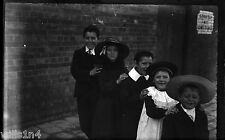 ANTIQUE NEGATIVE GLASS Film of Australian British Naval Children near wharf 1900
