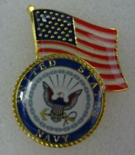 Us Navy / American flag on top lapel pin Very nice New!