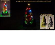 LED-Weihnachtset 2x 4 farbige Lichterkette 1x rot 1x warmw+Tannenbaum verschneit