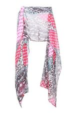 Pink/ Crimson Red Polka Dot Pattern Black/ Cyan Infused Abstract Scarf(S16)