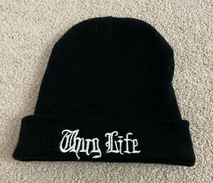Thug Life Black Beanie Knit One Size Fits Most