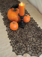"Heritage Lace SPIDER WEB 20"" x 80"" Table Runner, Mantle Scarf - Halloween"