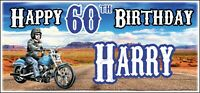 Motorbike Harley Chopper 60th Birthday Banner x2 Mens Party Decorations ANY NAME