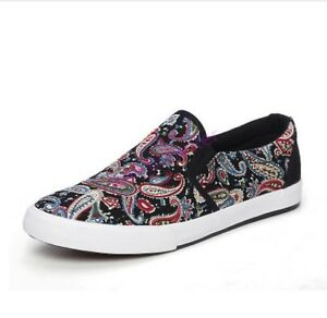 Mens Flats Pull On Loafers Floral Printing Casual Low Top Comfort Street Shoes
