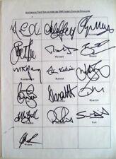 Cricket Team Sheets Cricket Autographs