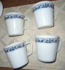 "4 Pyrex Milk Glass ""Old Town Blue Onion"" 1410 Coffee Tea Cups Mugs D Handle"