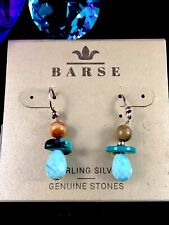 NWT BARSE 925 STERLING SILVER ARIZONA TURQUOISE FRENCH WIRE PIERCED EARRINGS