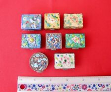 Set of 8 Antique Hand painted Chinese metal and Enamel Trinket Boxes  (#1277)