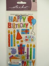 STICKO STICKERS - Birthday Party - happy birthday with candles & glitter