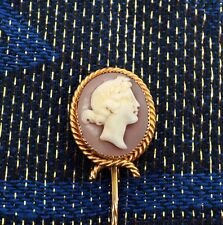 RARE Victorian 18ct Gold Cameo Hat / Stick / Lapel / Tie Pin. NICE1