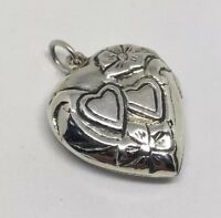 Vintage 925 Sterling Silver Heart Locket Repousse Pendant 25mm With Chain Loop