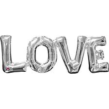 """Love"" Phrase Silver Letter Foil Balloons Valentines Wedding Party Decorations"