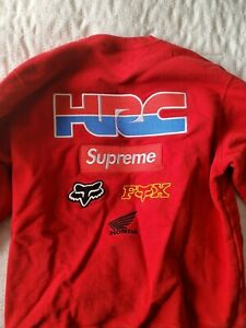 Red Supreme x Honda Fox Racing Crewneck Box Logo Sweatshirt Medium 🏎