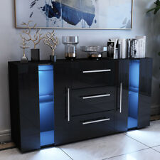 High Gloss Sideboard Cabinet Storage 3 Drawers 1 Doors With RGB LED Lights Black