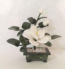 Stone Carving Artificial Bonsai Tree Jade Flower Basket White Magnolia Design