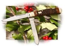 Boker Double Lock Trapper Pocket Knife 440 Steel Blades Jigged Brown Bone Handle