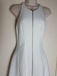 BCBG MAXAZRIA Winter White Sleeveless Front Zip Dress Size 8