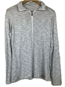 Columbia Jumper Sweater Grey Pullover Zip Neck Outdoors Hiking Travel Size XL