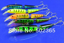 A0256 SET 10 PZ ARTIFICIALE SPINNING MINNOW JOINTED 10,5 CM 9,6 GR 3D PIKE BASS