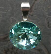NUOVO CIONDOLO catene 14mm pietra Swarovski Light Turquoise/Turchese rimorchio