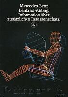 Mercedes Insassenschutz Lenkrad Airbag Prospekt 1985 11/85 brochure