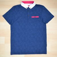 Authentic Ted Baker Blue Diamond Pattern Polo Shirt Contrast Collar Ted Size 1-5