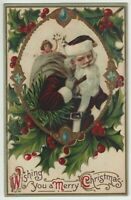 Christmas ~Purple Robe~SANTA CLAUS~Gifts~Jewel & Holly Antique Postcard-s711