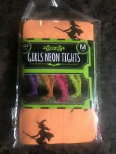 Girls Tights Orange With Black Witch Size 7-10 Years *NEW*