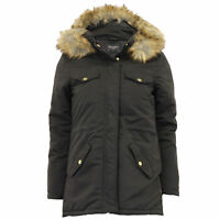 Ladies Parka Jacket Brave Soul Womens Coat Padded Hoodie Fur Military Winter New