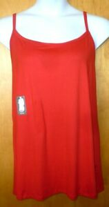 New Womens 1X 16W/18W Red Long Tunic Length Cami Tank Top Super Soft