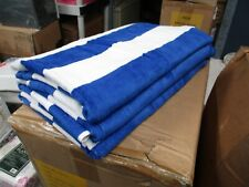 3 Pack Large Beach Resort Pool Towels in Cabana Stripe Blue 30x60 100% COTTON