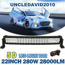 5D 22inch 280W CREE Curved Led Light Bar Combo Offroads 4WD Truck ATV Motors Fog