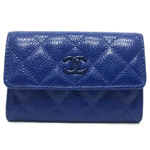CHANEL AP1417 Coin Compartment Card Slot Card Case Caviar Leather blue