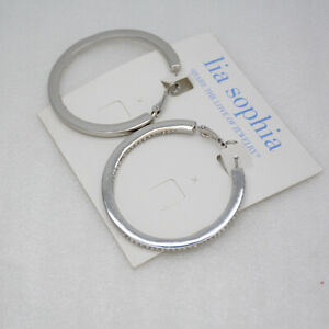 NWT Lia Sophia Jewelry rhoduim plated post hoop drop dangle earings cut crystals