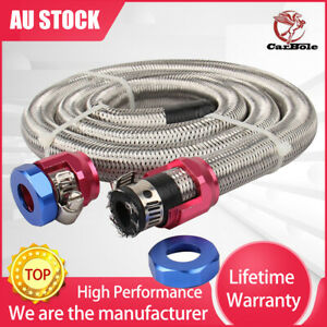 """CarBole 3/8 """" Hose 3ft. Stainless Steel Braided Fuel Line Kit 1526 New w/ Clamps"""