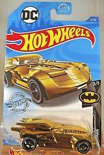 2020 Hot Wheels #9 Batman 3/5 BATMOBILE Gold Variation w/Black OH5 Spoke Wheels