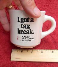 VINTAGE OLD STONE BANK COFFEE CUP MUG, Advertising Providence Rhode Island Tax